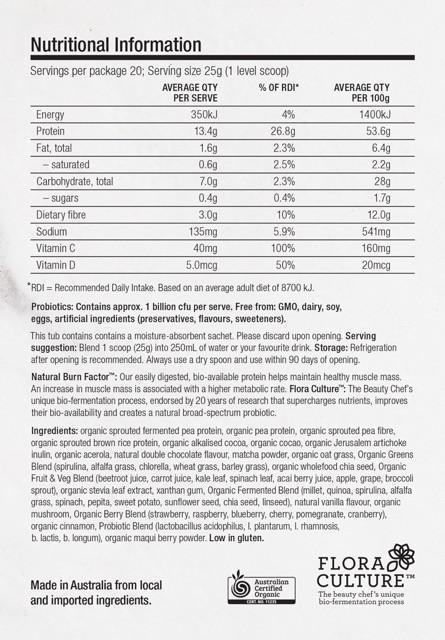 Body Inner Beauty Powder Nutritional Information