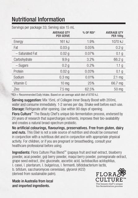 Collagen Inner Beauty Boost Nutrition Information